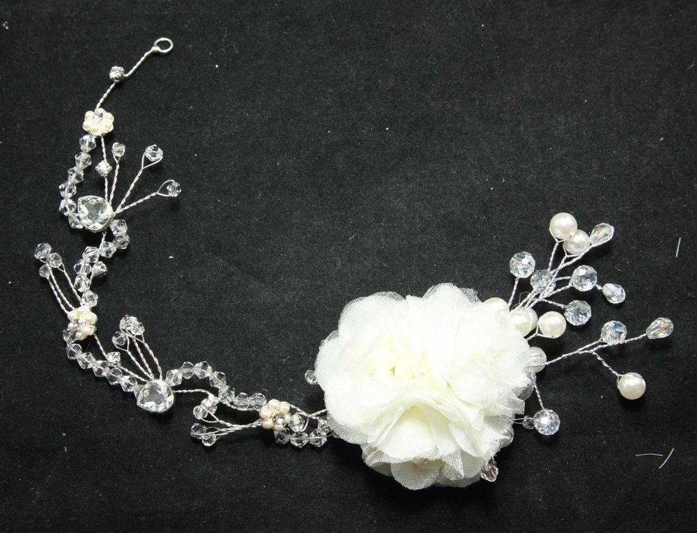 BEADED GLASS CRYSTAL RHINESTONE WEDDING FLOWER PEARL TIARA HAIRBAND