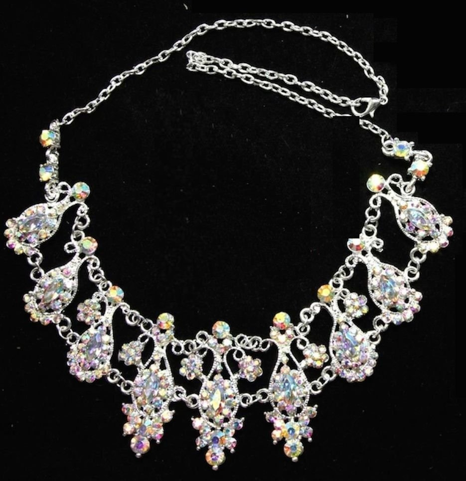 WEDDING BRIDAL AURORA RHINESTONE CRYSTAL NECKLACE