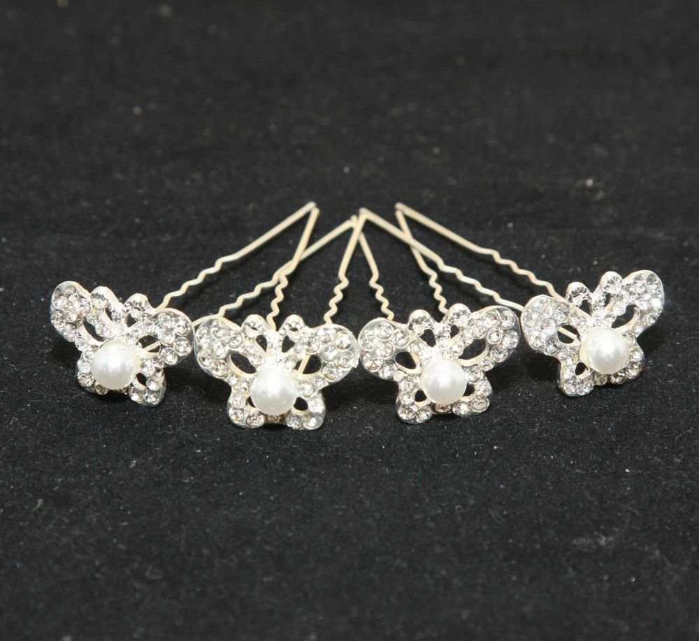 LOT OF 4 BRIDAL WEDDING RHINESTONE CRYSTAL BUTTERFLY PIN HAIR STICKS