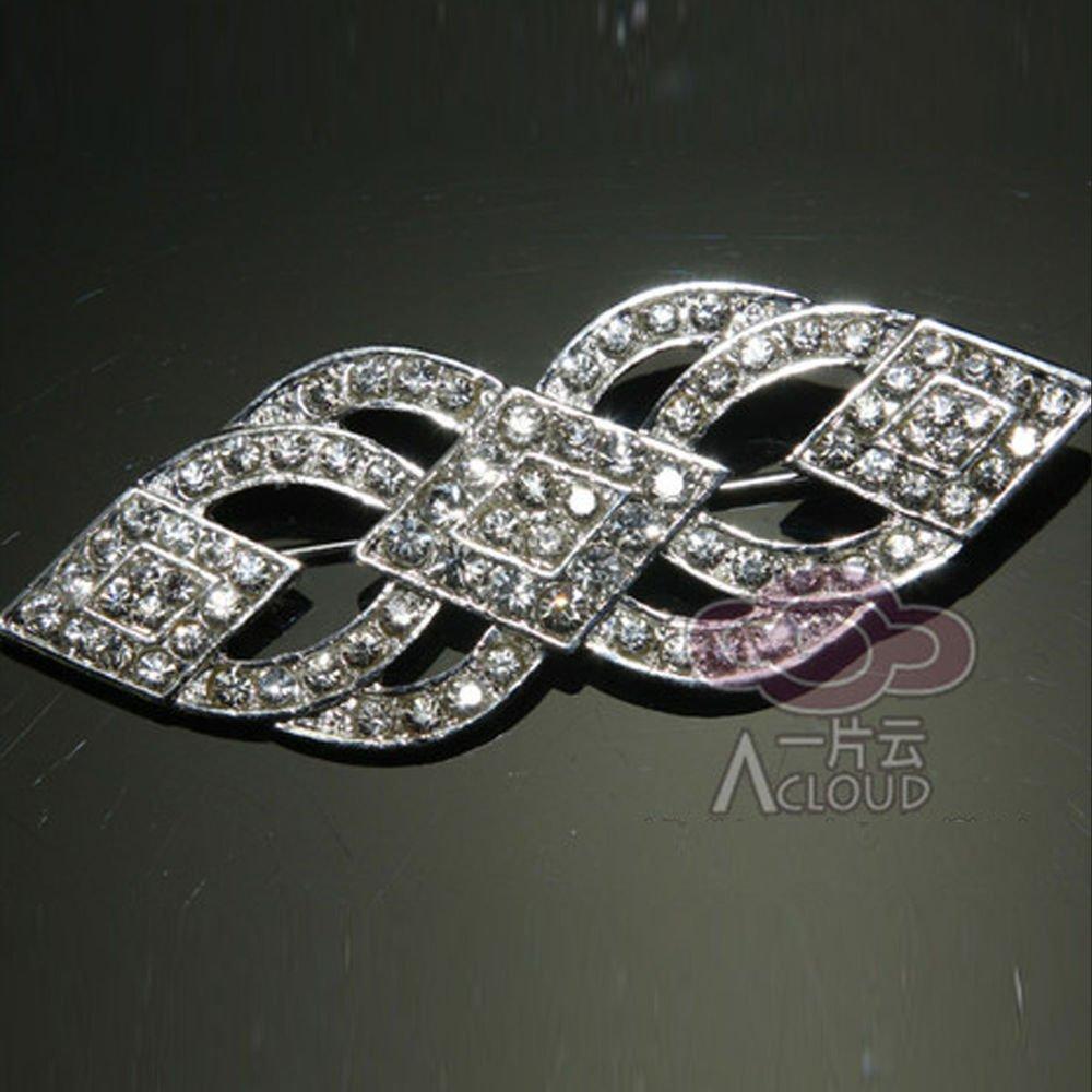 VINTAGE STYLE BRIDAL WEDDING RHINESTONE SASH RIBBON DRESS CRYSTAL BROOCH PIN