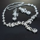 WEDDING BRIDAL RHINESTONE CRYSTAL CLIP ON EARRINGS NECKLACE SET