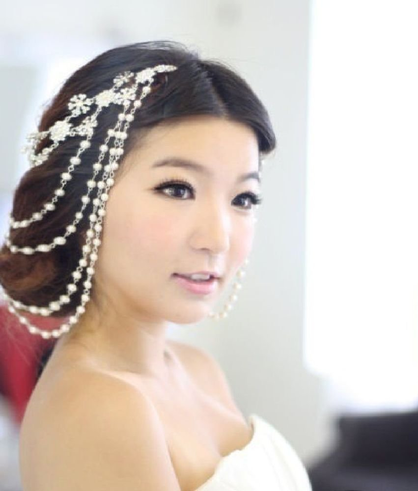 RHINESTONE WEDDING 4 ROWS PEARL HAIR HEADPIECE APPLIQUE CHAIN HAIR CLIPS