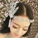 WHITE RIBBON - WEDDING BRIDAL RHINESTONE CRYSTAL GATSBY VICTORIAN CROWN TIARA
