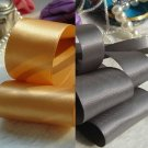 """DOUBLE FACE BLACK/OLD GOLD/SILVER GREY/CHAMPAGNE POLYESTER RIBBON-2"""" 3 YDS"""