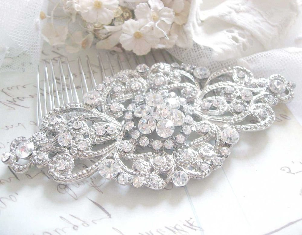 WEDDING BRIDAL CLEAR RHINESTONE RHOMBUS VINTAGE STYLE HAIR COMB