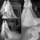 VINTAGE WEDDING BRIDAL PEARL LACE TULLE IVORY/WHITE CATHERDAL DROP VEIL 3m