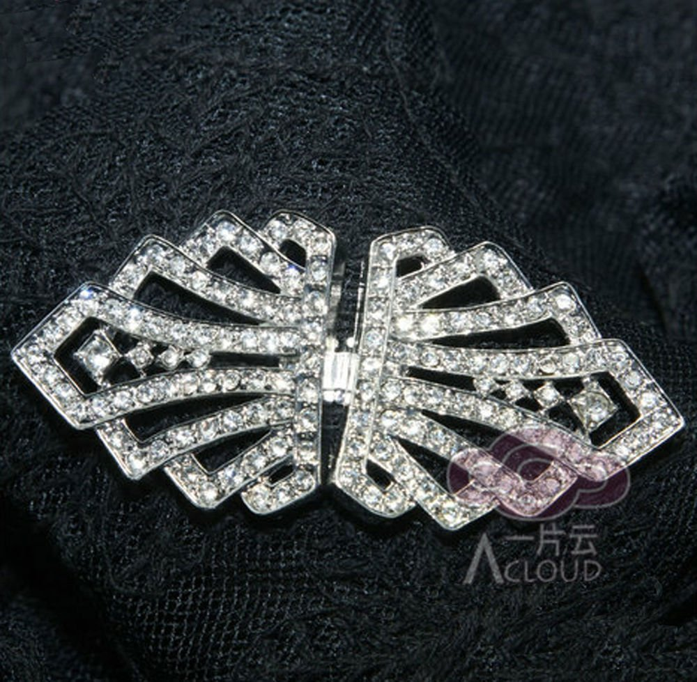 RHINESTONE CRYSTAL WEDDING BRIDAL DRESS SASH CLASP BUTTON BUCKLE HOOK CLOSURE
