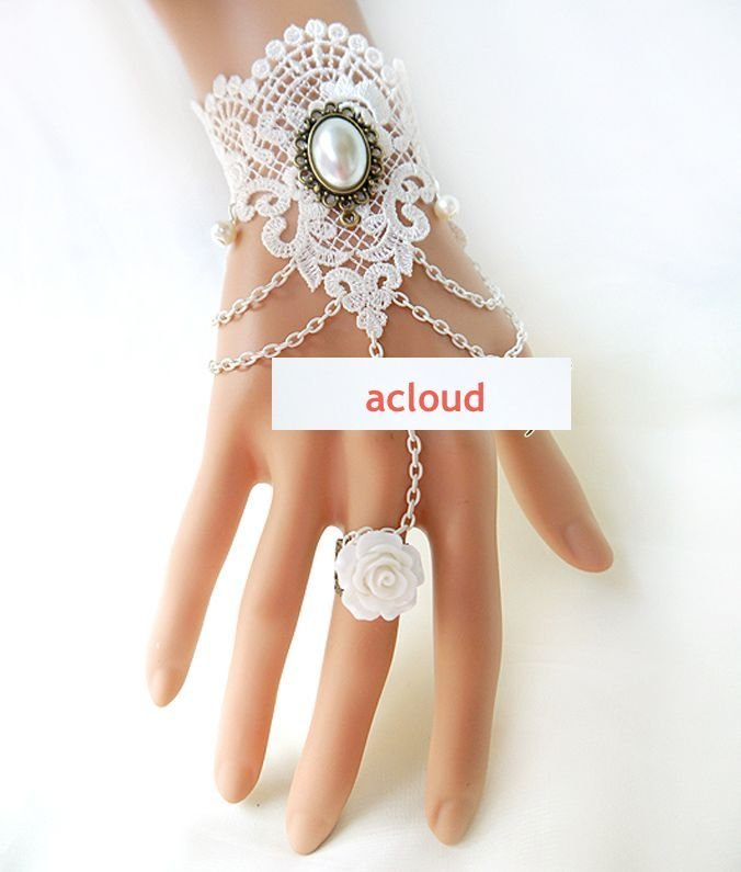 BRIDESMAIDS LACE APPLIQUE  VICTORIAN SLAVE BRACELET WITH COPPER RING