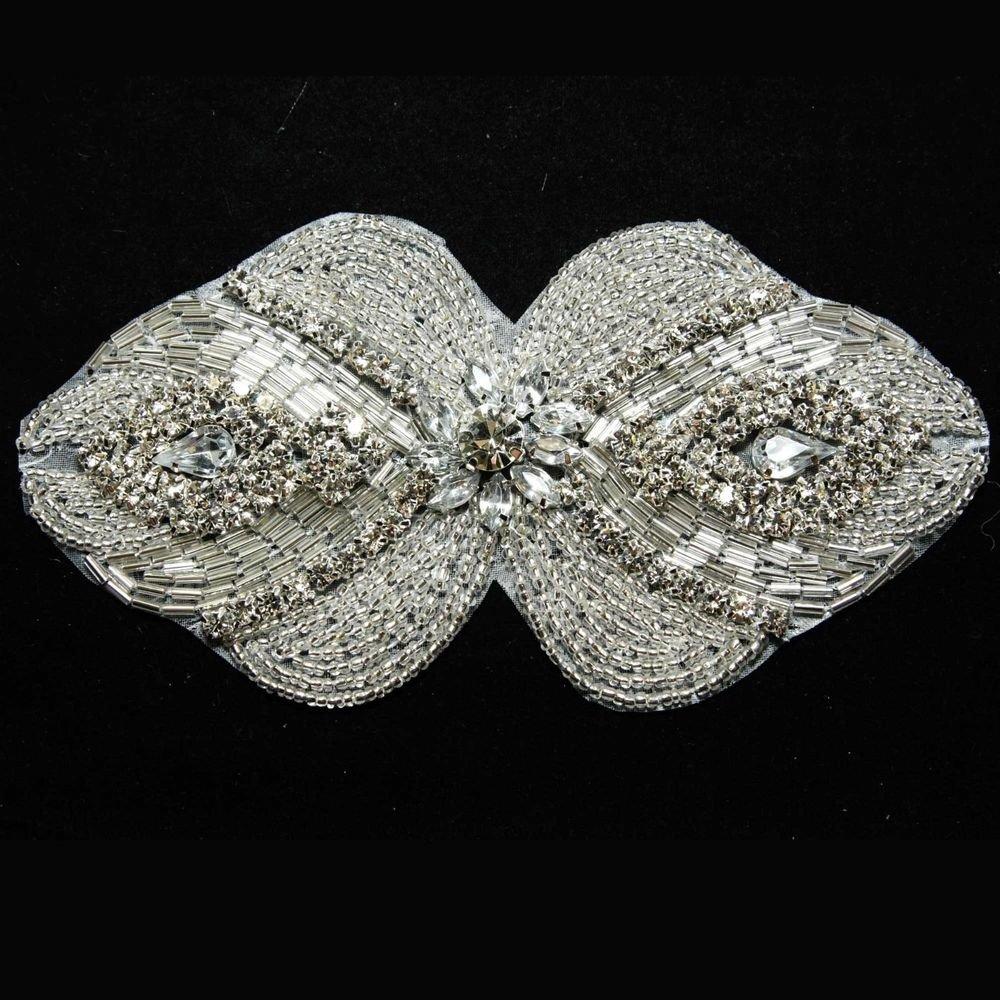 SYMMETRY GLASS CRYSTAL RHINESTONE WEDDING DRESS APPLIQUE SEW IRON PATCH