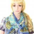 BLUE FASHION SILK BLEND STOLE SHRUG WRAP SHAWL SCARF