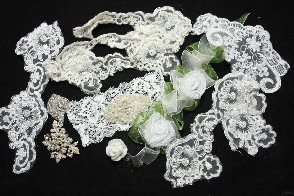 BEADED PEARL WHTIE IVORY SEQUIN APPLIQUE EMBROIDERY LACE TRIM & OTHERS