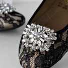 A PAIR OF RHINESTONE CRYSTAL WEDDING BRIDAL TRAPEZIUM BUCKLE SHOES CLIPS