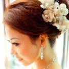 IVORY SILK FLOWER BRIDAL WEDDING FAUX PEARL BEADAS CRYSTAL HAIR HEADBAND TIARA