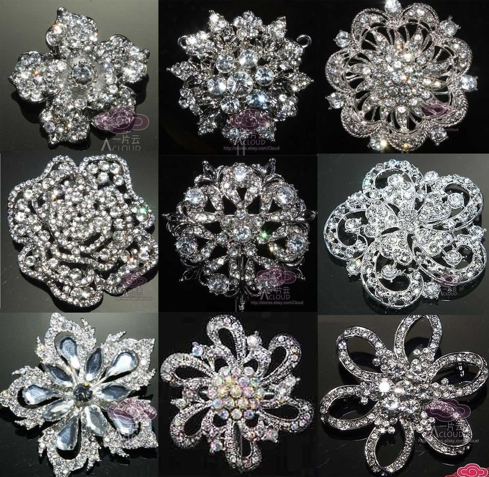 LOT OF 4 RANDOM MIX BRIDAL FLOWER BOUQUET CRYSTAL RHINESTONE WEDDING BROOCH PIN
