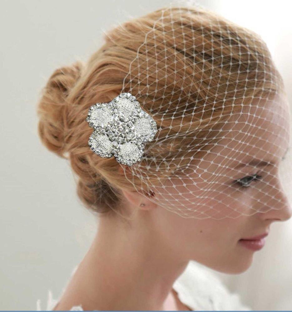 HANDMADE WEDDING BRIDCAGE NET VEIL COVER FACE RHINESTONE FLOWER MASK & CLIP