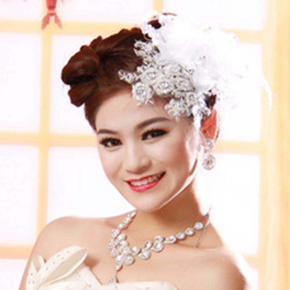 LACE BRIDAL WEDDING BRIDE FLOWER FEATHER APPLIQUE HAIR ALLIGATOR CLIP
