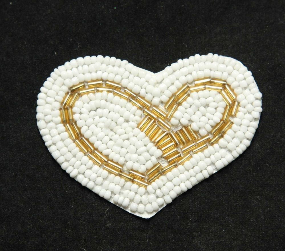 BEADED SWEET HEART WHITE GOLD APPLIQUE PATCH
