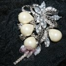 RHINESTONES CRYSTAL BRIDAL WEDDING IVORY FAUX PEARL PENDANT BROOCH PIN