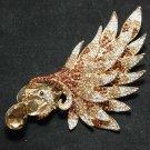 DANGLE DROP RHINESTONE CRYSTAL GOLD WEDDING BRIDAL PEACOCK BROOCH PIN