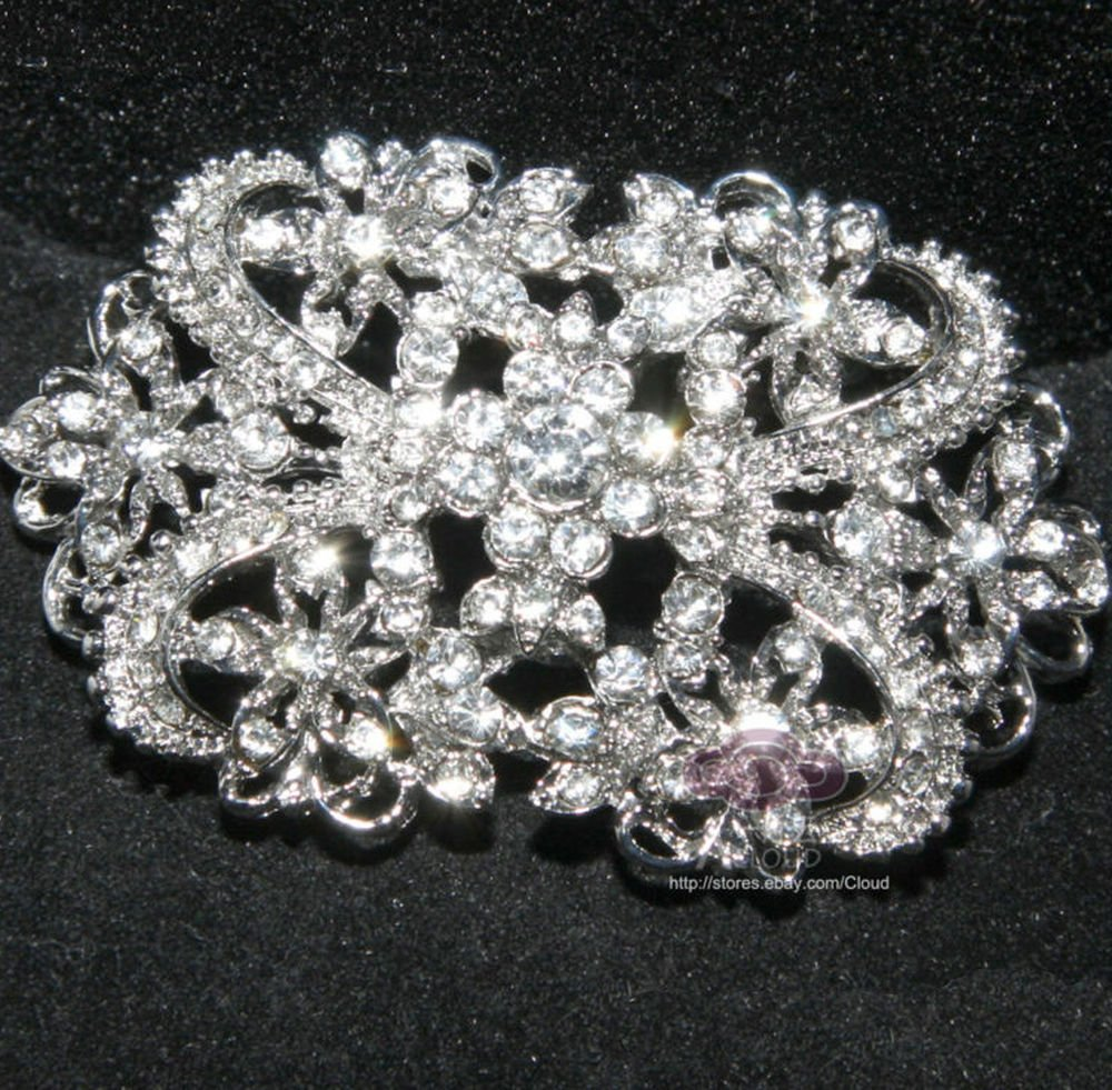 LOT OF 3 CLEAR RHINESTONE CRYSTALS VINTAGE STYLE RIBBON DRESS SASH BROOCH PIN