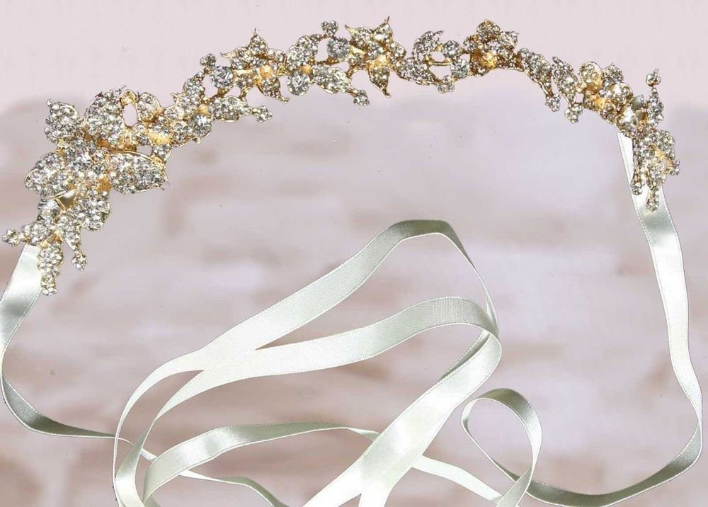 BRIDAL WEDDING RHINESTONE CRYSTAL HAIR TIARA IVORY RIBBON HEADBAND