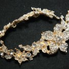 BRIDAL WEDDING RHINESTONE CRYSTAL FLOWER SEWING GOLD HAIR APPLIQUE CHAIN