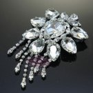 DANGLE BRIDAL WEDDING CAKE HAIR DRESS CZECH RHINESTONE CRYSTAL BROOCH PIN