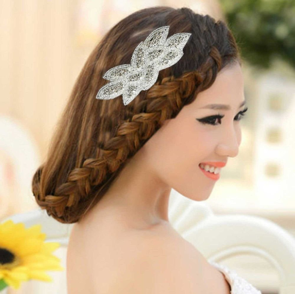 RHINESTONE WEDDING LEAF HAIR HEADPIECE APPLIQUE HAIR CLIPS