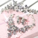 WEDDING BRIDES BRIDAL RHINESTONE CRYSTAL HAIR TIARA NECKLACE EARRINGS SET