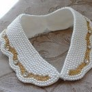FAUX PEARL ACRYLIC RHINESTONE BEADED CREAM GOLD NECK COLLAR NECKLACE CHOKER