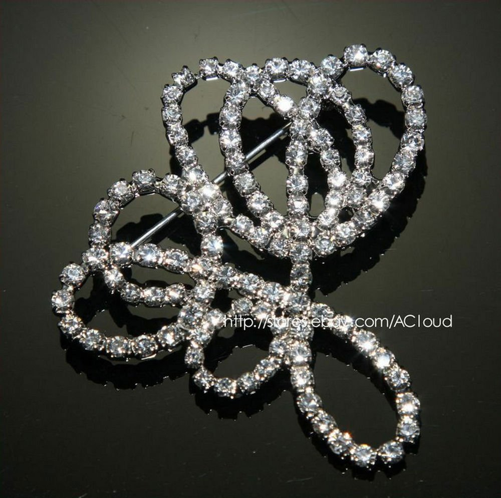 LOT OF 4 ART DECO RHINESTONE CRYSTAL WEDDING BRIDAL DRESS SASH BUCKLE PIN BROOCH