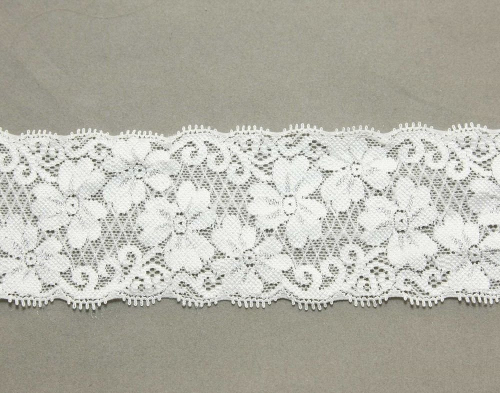 WEDDING CRAFT EMBROIDERY FLOWER PATTERN WHITE LACE TRIM 2 YARD