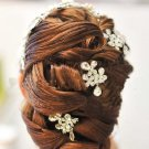 RHINESTONE WEDDING HAIR HEADPIECE DANGLE FLORAL HAIR ALLIGATOR CLIPS