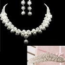 WEDDING BRIDAL RHINESTONE CRYSTAL FAUX PEARL STUD EARRINGS NECKLACE CROWN SET