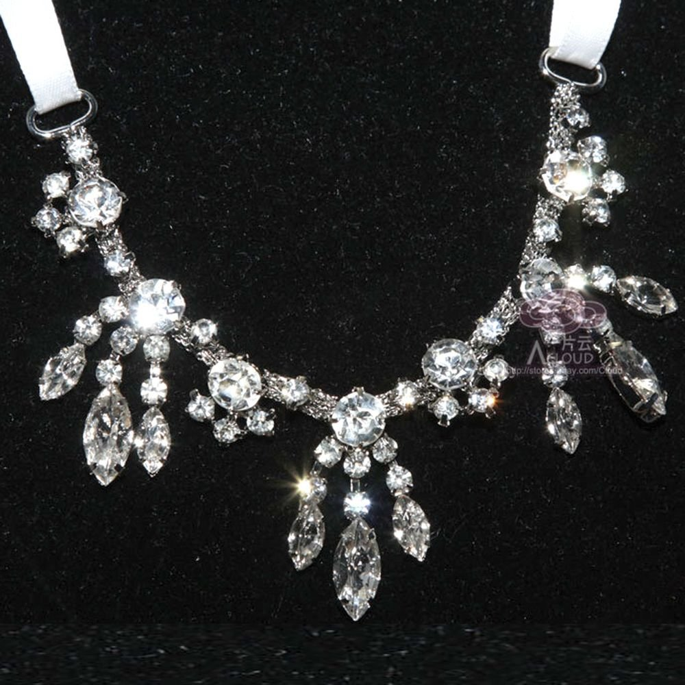 WEDDING RHINESTONE CRYSTAL FOREHEAD TIARA WHITE RIBBON HAIR NECKLACE HEADPIECE