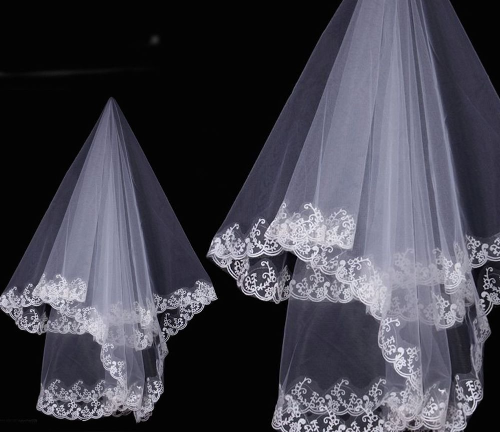 WEDDING BRIDAL BRIDES IVORY LACE HARD ORGANZA LACE TULLE VEIL 1 Tier