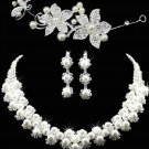 SET OF NECKLACE,EARRINGS,TIARA WEDDING BRIDAL RHINESTONE CRYSTAL JEWELLERY SET