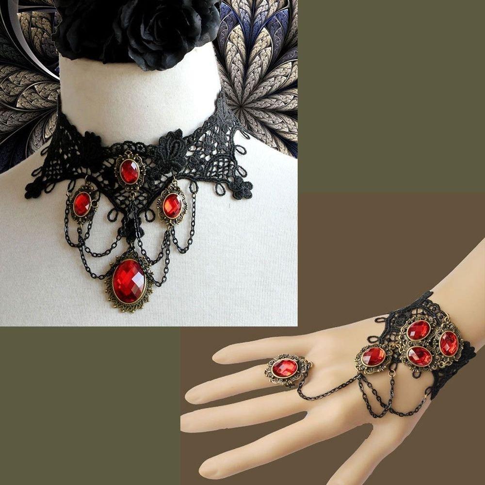 BLACK LACE RED ACRYLIC BRACELET & NECKLACE SET
