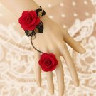 BLACK GOTHIC GOTH FRENCH VENICE LACE DOUBLE RED FLOWER PATCH BRACELET