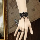 GOTH BLACK LACE APPLIQUE ROCOCO VICTORIAN SLAVE BRACELET WITH BLACK ROSE RING