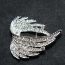 RHINESTONE CRYSTAL ANGLE WING SILVER WEDDING CAKE SASH BROOCH PIN