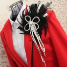 BLACK LADY MEN WEDDING PEACOCK FEATHER CORSAGE TASSEL BROOCH PIN