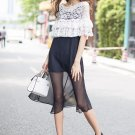 ELEGANT LACE EMBROIDERY CROCHET CREAM OUTWEAR BLOUSE & CHIFFON BLACK DRESS