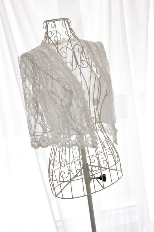 WEDDING FLORAL LACE WHITE/IVORY SHAWL WAISTCOAT BOLERO JACKET WRAP OUTWEAR