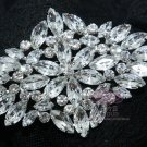 ALL GLASS BRIDAL WEDDING RHINESTONE CRYSTAL BLING RHOMBUS BROOCH PIN