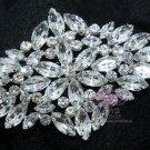 ALL GLASS BLING BRIDAL WEDDING RHINESTONE CRYSTAL RHOMBUS BROOCH PIN