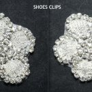 A PAIR OF BEADED GLASS FLOWER APPLIQUE CRYSTAL RHINESTONE WEDDING SHOE CLIPS