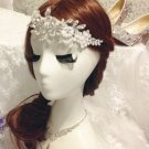 BRIDAL WEDDING WHITE RHINESTONE CRYSTAL PEAR HAIR ALLIGATOR HAIR  CLIP
