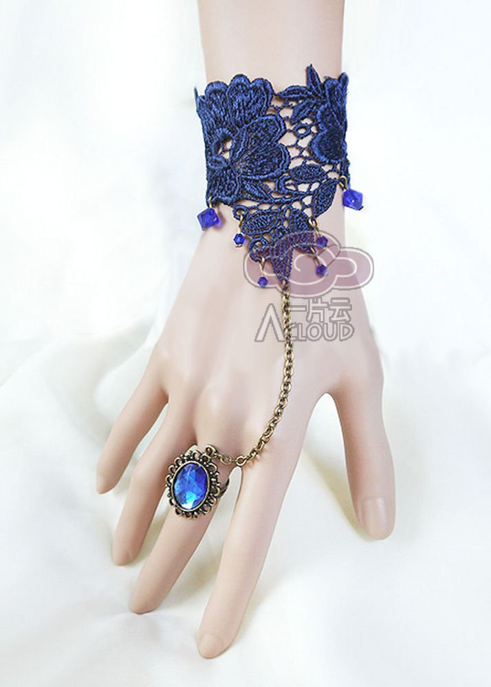 SAPPHAIRE BLUE LACE RIBBON BRASS SLAVE BRACELET WITH ROCOCO STYLE RING