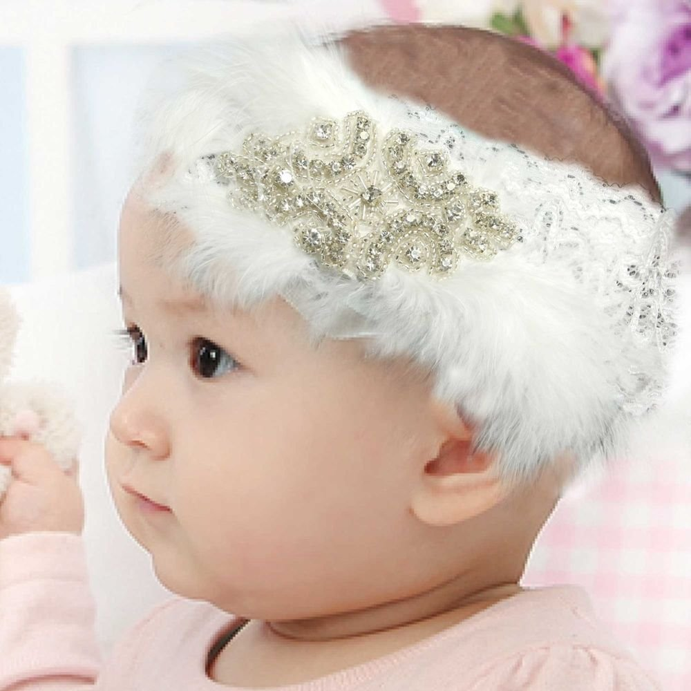 WEDDING WHITE FEATHER FLOWER GIRL HAIR LACE FASCINATOR ELASTIC HEADBAND